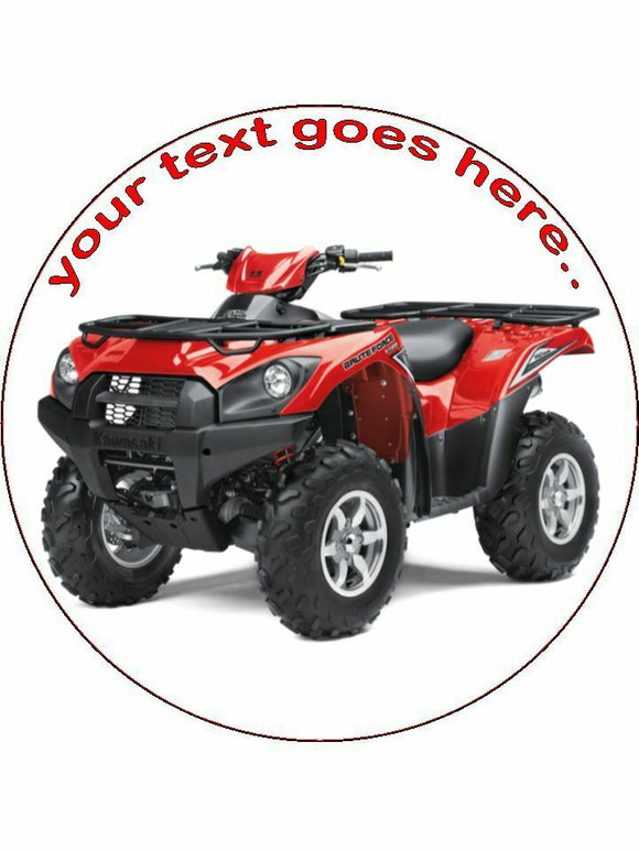 quadbike quads red sport Personalised Edible Cake Topper Round Icing Sheet