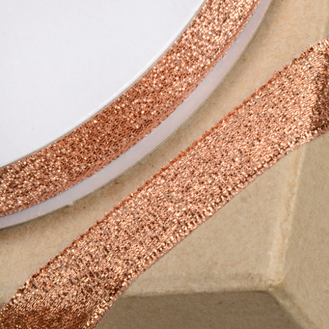 Lurex Ribbon Metallic Rose Quartz / Rose Gold 15mm Width