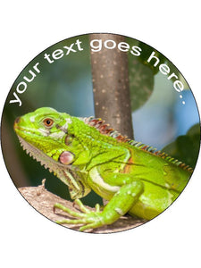 Green iguana reptile Personalised Edible Cake Topper Round Wafer Card