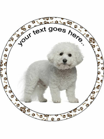 Bichon Frise dog Personalised Edible Cake Topper Round Icing Sheet