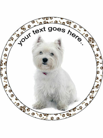 Westie Terrier dog Personalised Edible Cake Topper Round Icing Sheet