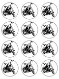 Chopper MotorCycle Vehicle Edible Printed CupCake Toppers Icing Sheet of 12 Toppers