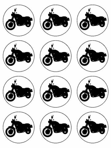 cycle club motorcycle Edible Printed CupCake Toppers Icing Sheet of 12 Toppers