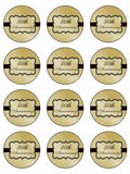 Happy Wedding Anniversary 50th Golden Edible Printed CupCake Toppers Icing Sheet of 12 Toppers