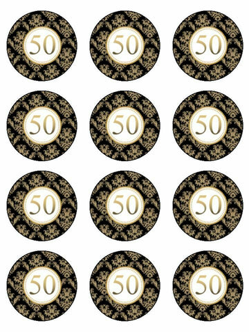 Happy Anniversary 50th 50 birthday Edible Printed CupCake Toppers Icing Sheet of 12 Toppers