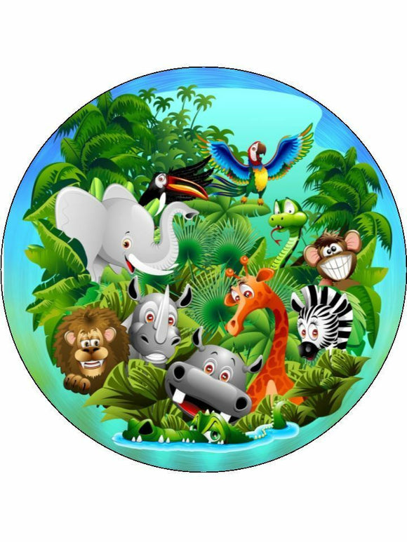 Wild animals Jungle animals Personalised Edible Cake Topper Round Icing Sheet