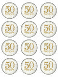 Happy Anniversary 50th 50 happy years Edible Printed CupCake Toppers Icing Sheet of 12 Toppers