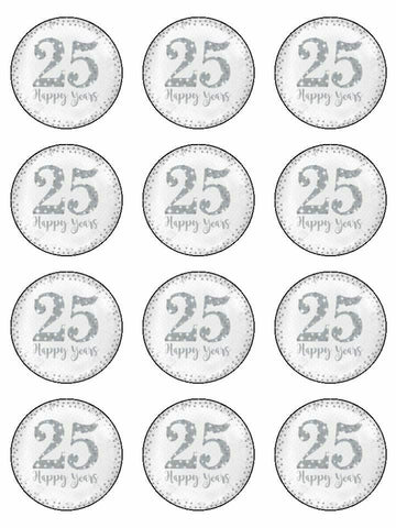 Happy Anniversary 25th 25 Happy Years Edible Printed CupCake Toppers Icing Sheet of 12 Toppers
