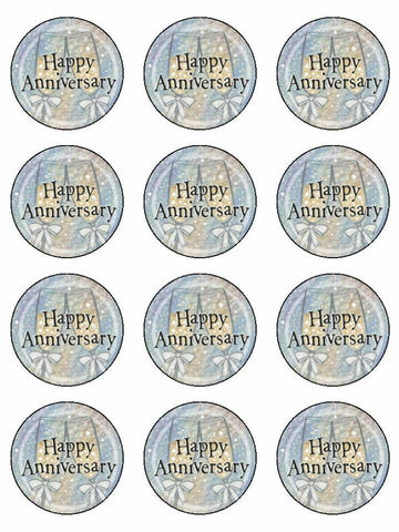 Happy anniversary Edible Printed CupCake Toppers Icing Sheet of 12 Toppers