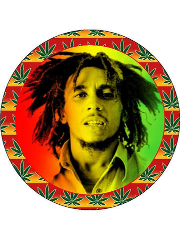 Bob Marley Personalised Edible Cake Topper Round Wafer Card
