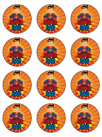 Super hero Dad Father's day Edible Printed CupCake Toppers Icing Sheet of 12 Toppers