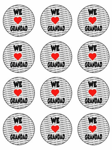 We love Grandad Father's day Edible Printed CupCake Toppers Icing Sheet of 12 Toppers
