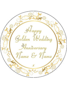 Golden 50th Wedding Anniversary Personalised Edible Cake Topper Round Icing Sheet