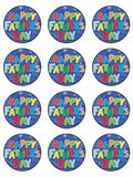 Father's day happy fathers day dad Edible Printed CupCake Toppers Icing Sheet of 12 Toppers