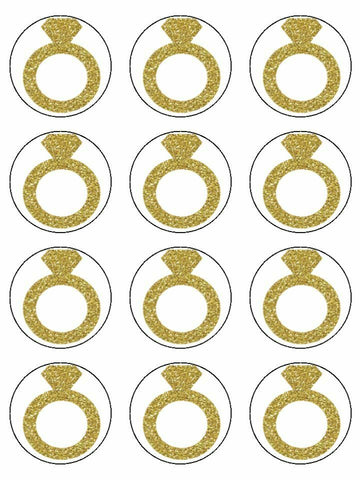 Rings Engagement ring Gold Edible Printed CupCake Toppers Icing Sheet of 12 Toppers
