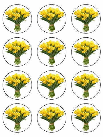 tulip flowers floral yellow Edible Printed CupCake Toppers Icing Sheet of 12 Toppers