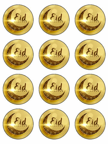 Eid Mubarak Happy Festival moon Edible Printed CupCake Toppers Icing Sheet of 12 Toppers