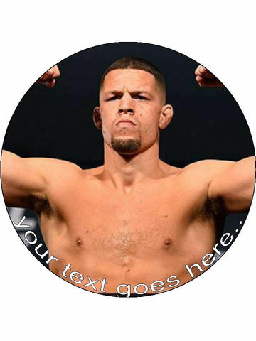 Nate Diaz UFC fighter mma Personalised Edible Cake Topper Round Icing Sheet