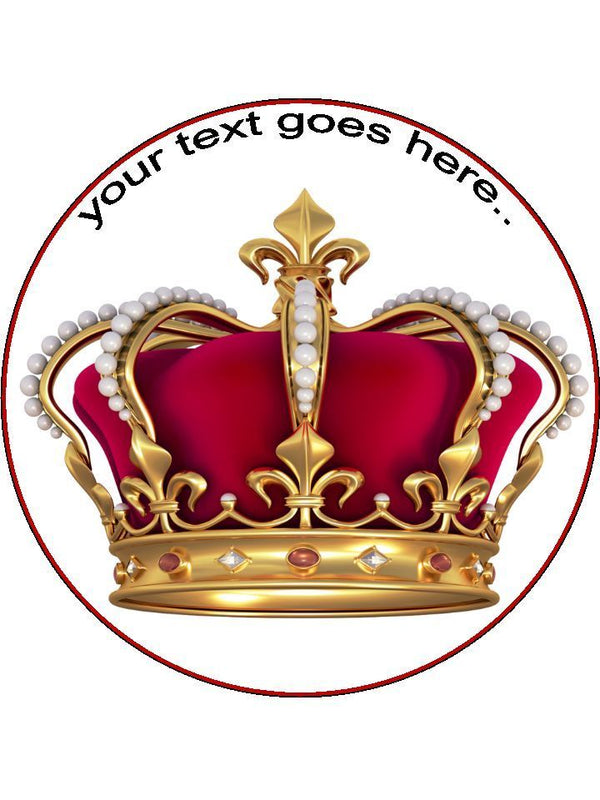 Crown Jewels Royal King Queen Personalised Edible Cake Topper Round Wafer Card