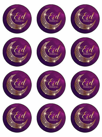 Eid Mubarak Happy Festival Edible Printed CupCake Toppers Icing Sheet of 12 Toppers