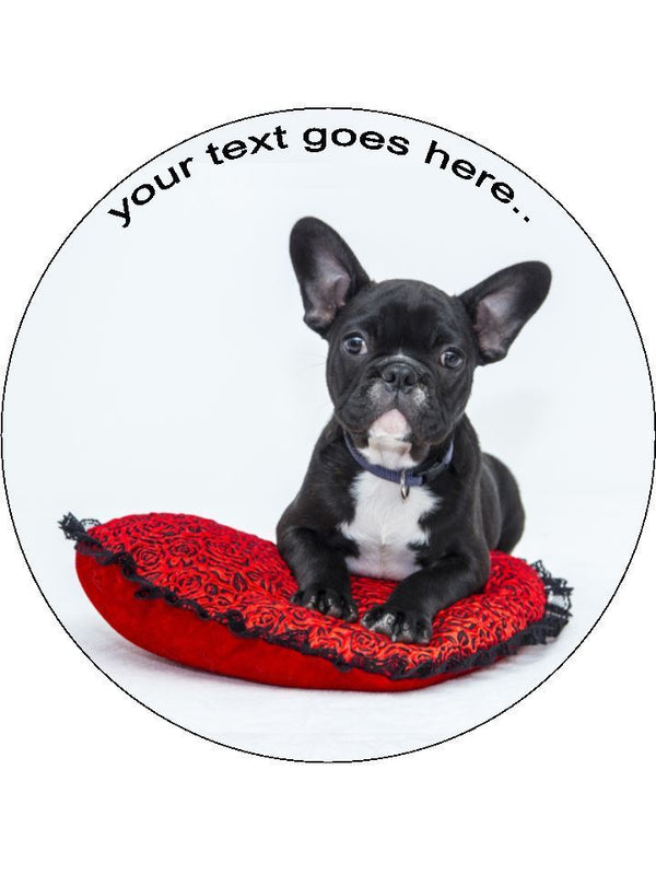 French bulldog frenchie Personalised Edible Cake Topper Round Wafer Card