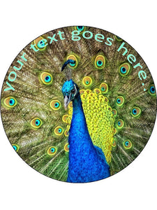 Peacock feathers wildlife Personalised Edible Cake Topper Round Wafer Paper