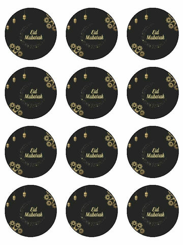 Eid Mubarak Happy Festival gold& Black Printed CupCake Toppers Icing Sheet of 12 Toppers
