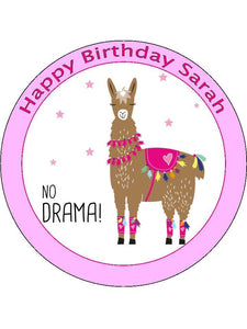 Drama Llama Girly Pink Personalised Edible Cake Topper Round Wafer Card