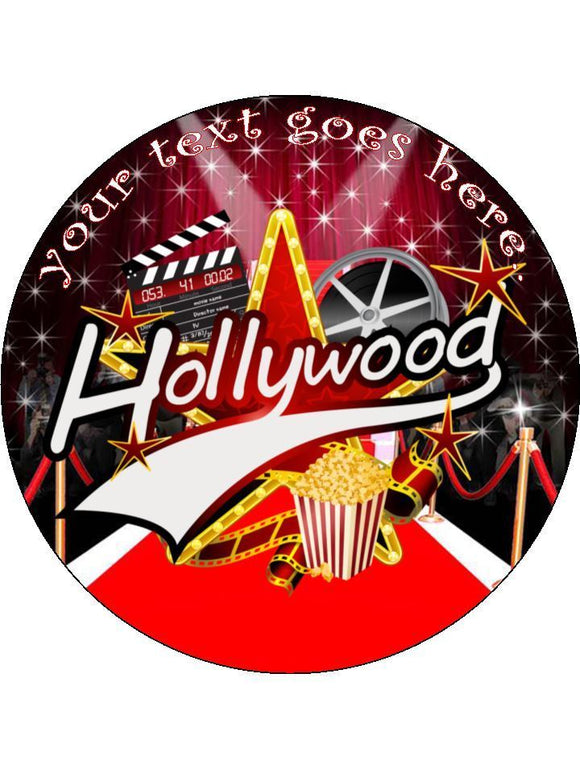 Hollywood Movies film red carpet Personalised Edible Cake Topper Round Icing Sheet