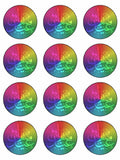 Eid Mubarak Happy Festival rainbow Edible Printed CupCake Toppers Icing Sheet of 12 Toppers