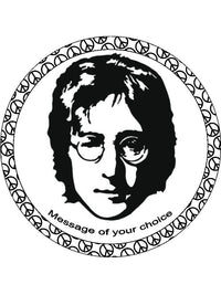 John Lennon Peace Love Personalised Edible Cake Topper Round Wafer Card