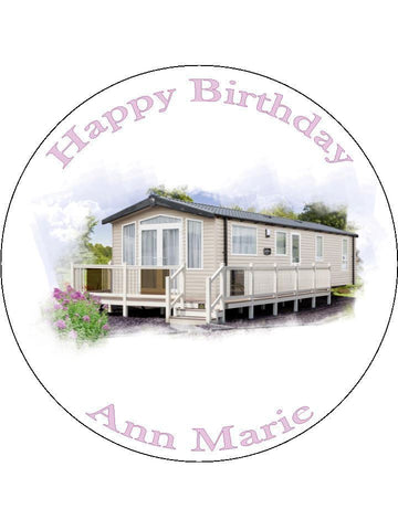 Static Caravan Personalised Edible Cake Topper Round Wafer Paper