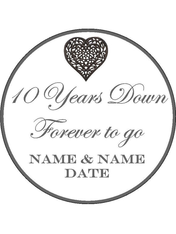10th Tenth Wedding Anniversary Personalised Edible Cake Topper Round Wafer Paper