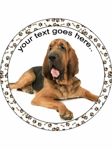 Bloodhound dog Personalised Edible Cake Topper Round Icing Sheet
