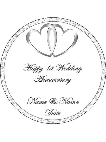 1st First Happy Wedding Anniversary Personalised Edible Cake Topper Round Wafer Paper