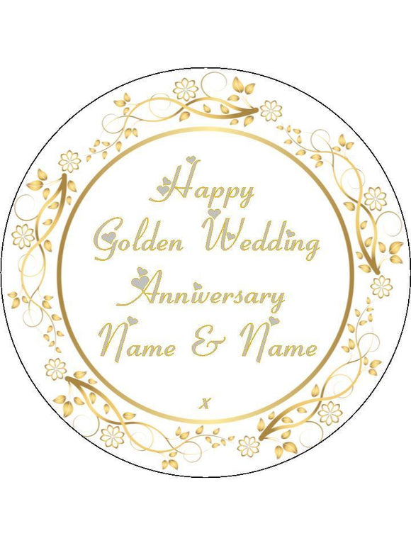 Golden 50th Wedding Anniversary Personalised Edible Cake Topper Round Wafer Paper