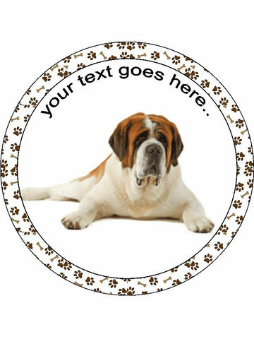 Saint Bernard dog Personalised Edible Cake Topper Round Icing Sheet