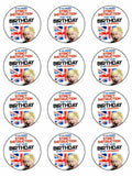 Happy lockdown birthday boris UK Edible Printed CupCake Toppers Icing Sheet of 12 Toppers