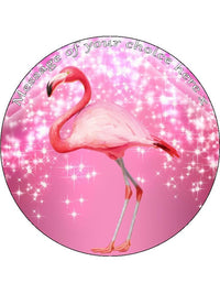 Flamingo Pretty Pink girly Personalised Edible Cake Topper Round Wafer Card