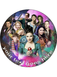 Once Upon a time Cast Personalised Edible Cake Topper Round Wafer Card