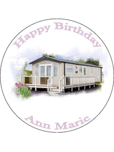 Static Caravan Personalised Edible Cake Topper Round Wafer Card