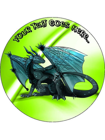 Dragon Myth Fantasy green Personalised Edible Cake Topper Round Wafer Paper
