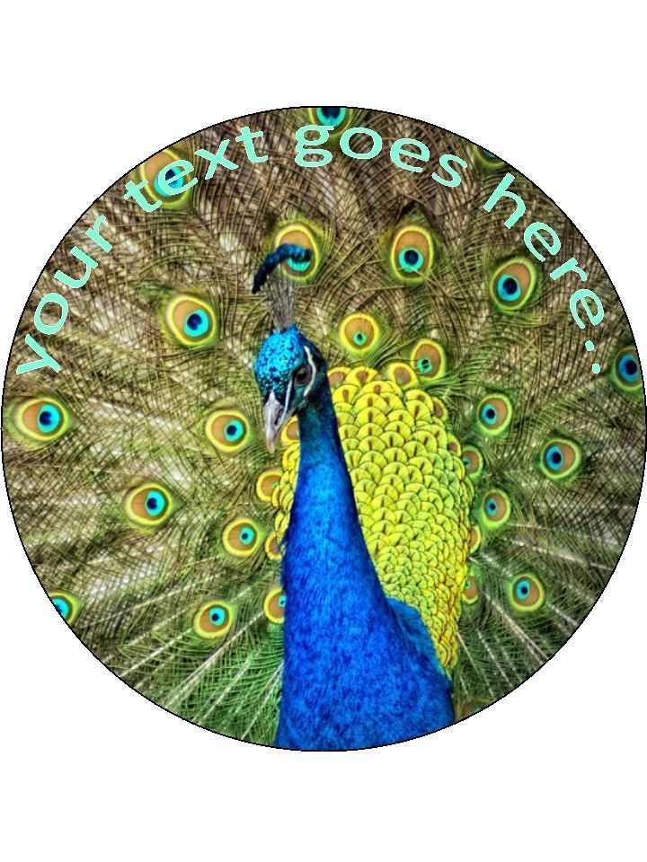 Peacock feathers wildlife Personalised Edible Cake Topper Round Wafer Card