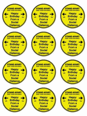 Happy birthday from a social distance Edible Printed CupCake Toppers Icing Sheet of 12 Toppers