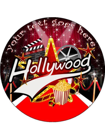 Hollywood Movies film red carpet Personalised Edible Cake Topper Round Wafer Card