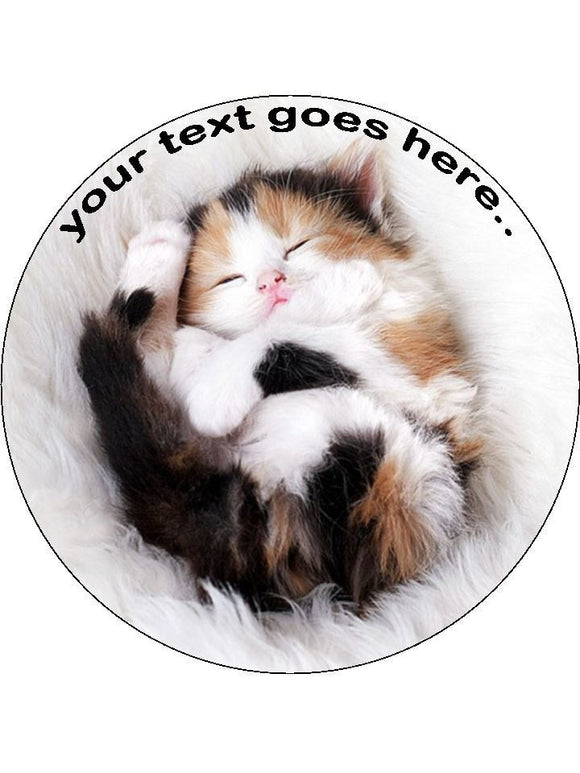 Cute kitten sleeping cat Personalised Edible Cake Topper Round Wafer Paper