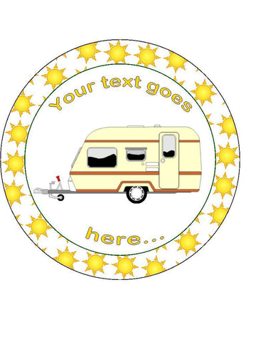Caravan with sun Personalised Edible Cake Topper Round Icing Sheet
