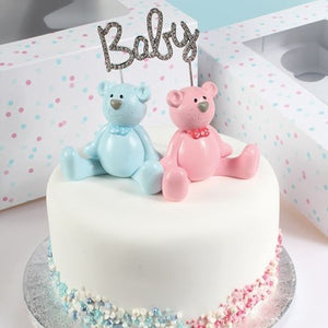 Teddy Bear Cake Topper Gender Reveal Baby cake Decoration Pink