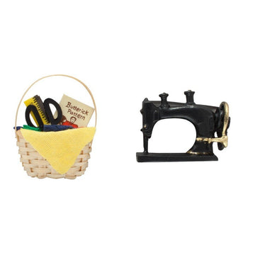 Miniature Sewing Machine and Sewing Basket Cake Topper Set
