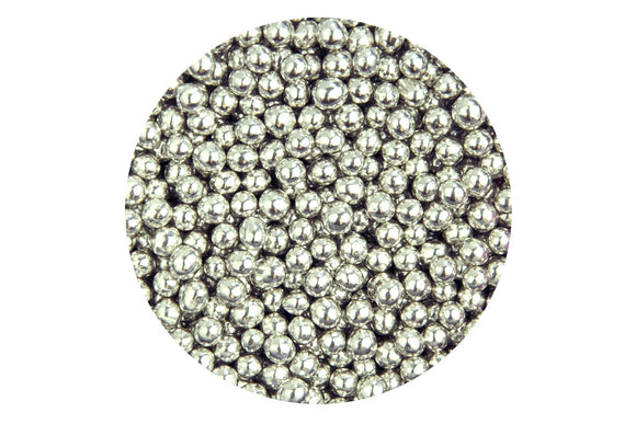Sugar Edible Pearls 4mm Silver